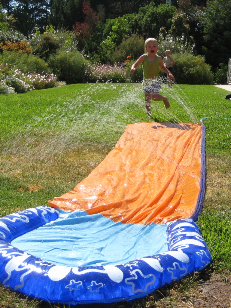 Hana and Seth on the Slip-n-Slide!